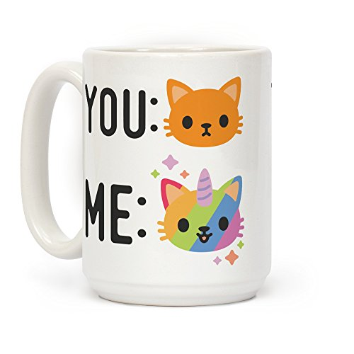 LookHUMAN You Me Caticorn White 15 Ounce Ceramic Coffee Mug]()