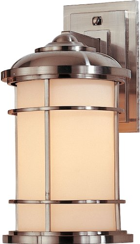 Feiss OL2201BS One Lighthouse Outdoor Patio Wall Lantern, Satin Nickel, 1-Light (7