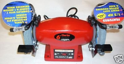 Clarke BT2005 Metal Worker 6'' Bench Grinder 1/2 HP 3.6 Amp w Grinding Wheels by Clarke