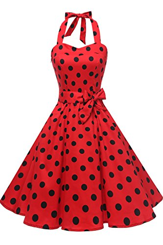 Topdress Women's Vintage Polka Audrey Dress 1950s Halter Retro Cocktail Dress Red/Black Dot S]()