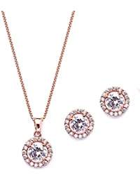 Ultra Dainty 10.5mm Cubic Zirconia Round Halo Necklace & Stud Earrings Set -14K Rose Gold Plated