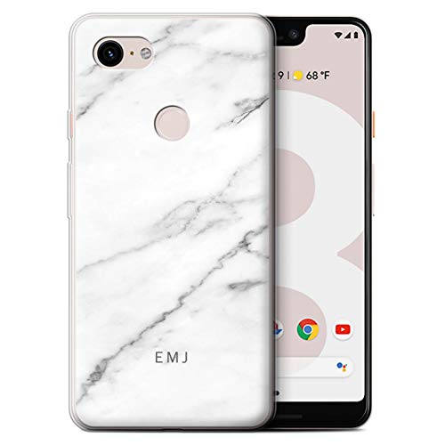 (Personalized Custom Marble Gel/TPU Case Google Pixel 3 XL/Porcelain White Label Design/Initial/Name/Text DIY Cover)