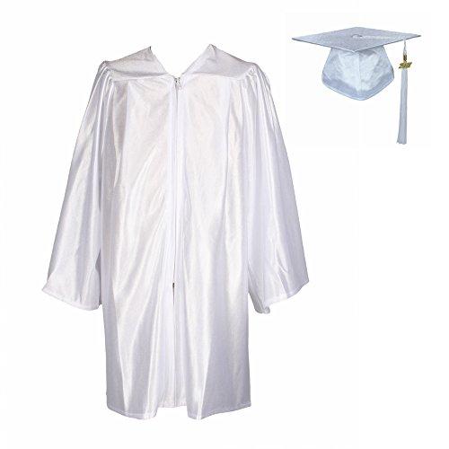 GraduationService Unisex Kindergarten Graduation Shiny Gown Cap Tassel 2018, White, (Preschool Graduation Gowns)