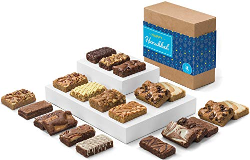 Fairytale Brownies Hanukkah Bar & Sprite Combo Gourmet Chocolate Kosher Food Gift Basket - 3 Inch x 1.5 Inch Snack-Size Brownies and 3 Inch x 2 Inch Blondie Bars - 21 Pieces - Item CK382