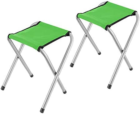 YongTong 2-Pack Folding Camping Stool, Lightweight Portable Sturdy Camping Chair for Outdoor Picnic Fishing Hiking and Backpacking, Compact Traveling Little Stool 11.8 x9.8 x15.7 , Green