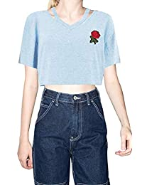 Women's Rose Embroidered Crop Top Casual Short Sleeve Cutout T Shirt Blouse Top