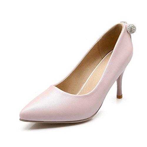 Amoonyfashion Delle Donne Pu Tacchi Alti Punta A Punta Solide Pull-on Pompe-scarpe Rosa