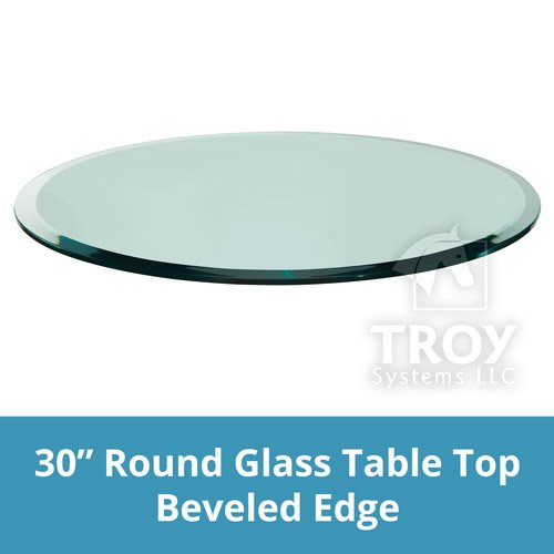 Glass Table Top: 30'' Round, 3/8'' Thick, Beveled Edge, Tempered Glass by TroySys