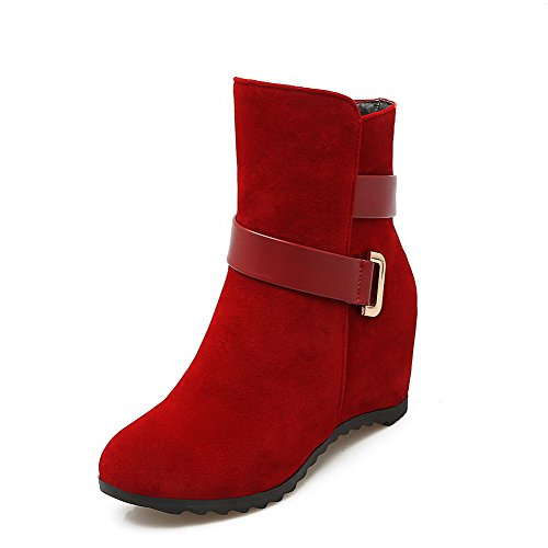 Women's Heels Frosted Boots Solid Allhqfashion Kitten on Red Low top Pull dw6dPq