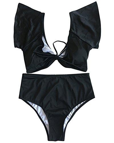 Costumi Alta Push Vita Beachwear Donna Up Pezzi Due da Bagno Bikini Nero AwBT7Txq5