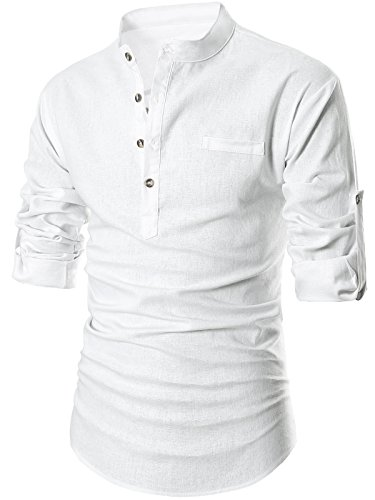 GARSEBO Beloved Men Henley Neck Long Sleeve Daily Look Linen Shirts (2XL, White)