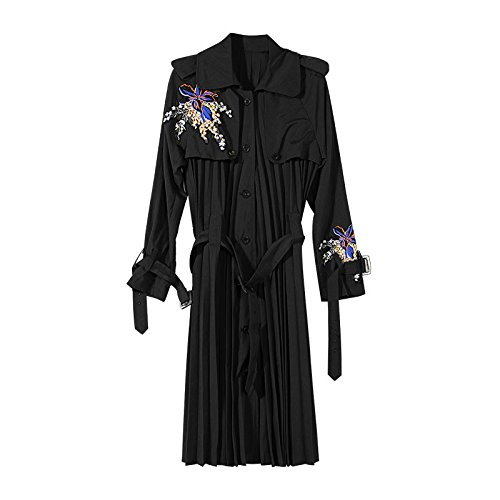 Xuanku Coat Embroidered Flat Extracting Leave Two Wild, Female Windbreaker. Long) Black