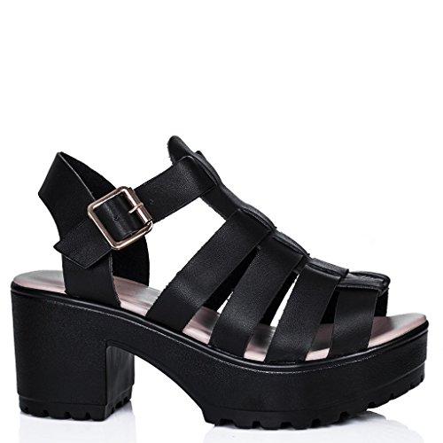 SPYLOVEBUY JAMON Zapatos Sandalias Tacón de Bloque con Plataforma Peep Toe Negro - Cuero Sintético