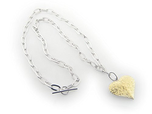 Sterling Hammered Oval Links (F & Co 925 Sterling Silver Oval Link Hammered Gold Heart Pendant Necklace)