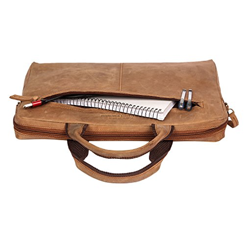 multiple Zippered Laptop Leather Nylon Bag Cow Leather compartments Color 13 Handle Bag and Inch Laptop Soft Sleeve with Brown wqZnf