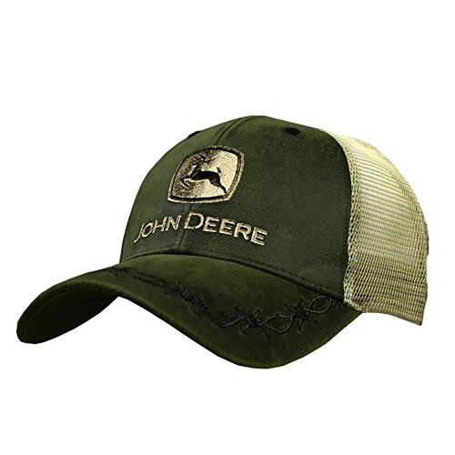 John Deere Oilskin Mesh Back Embroidered Hat, Olive