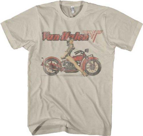 Licensed Van Halen Biker Pinup Beige Mens T-shirt, M to XXL