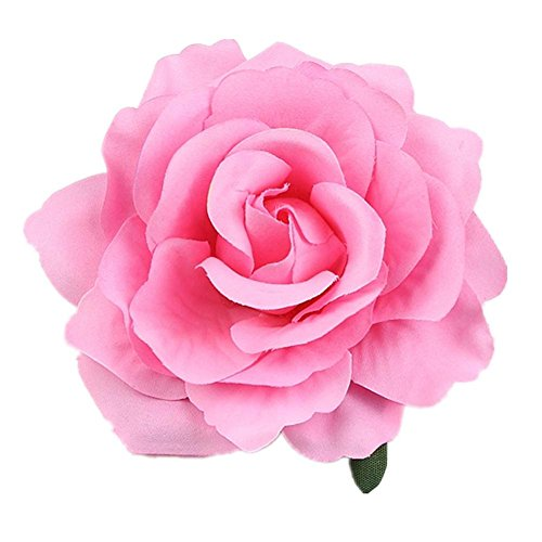 Beautiful Rose Flower Hair Clip Pin up Flower Brooch For Party Travel Festivals (Pink)