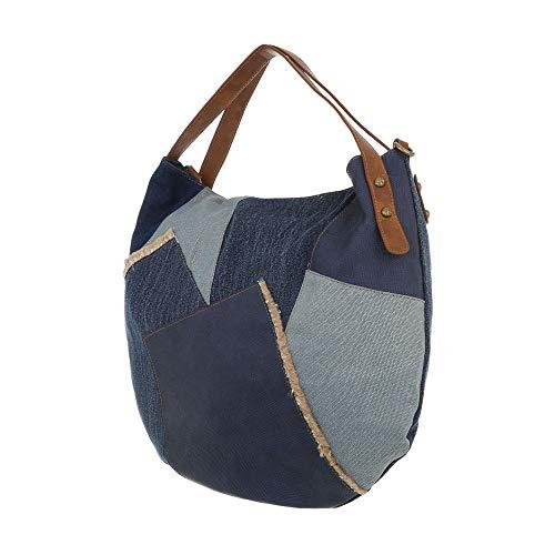 Oscuro Lona Bolso mujer Ital para hombro Design Azul de al THgwzPnq