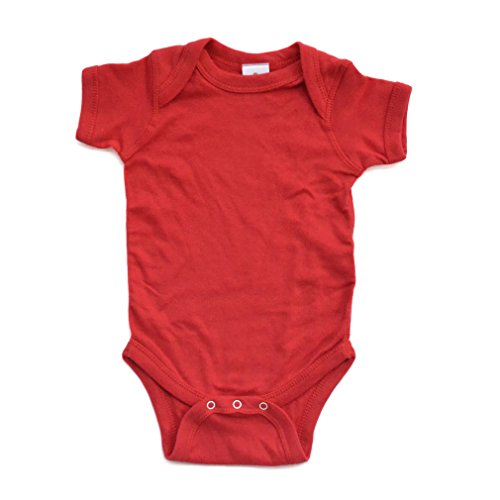 Apericots Super Soft Cotton Blank Plain Comfy Baby Short Sleeve Bodysuit, Red, (Red Super Soft T-shirt)