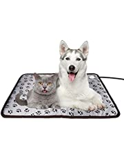Dog Heating Pad Electric Pet Heated Warming Bed Indoor for Large Dog with Temperature Control Switch Chew Resistant Cord 50x70cm
