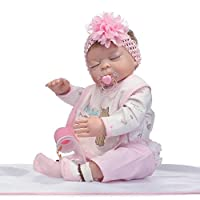 """LILITH 22"""" 53cm Reborn Baby Doll that Look Real Lifelike Newborn Full Body Girl Toy Toddler With Magnet Mouth Dummy"""