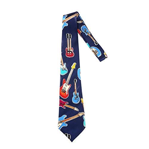 (Liobaba Men Silk Tie Musical Instrument Accessories Music Gift Guitar Pattern Tie English Music Tie Neckties)