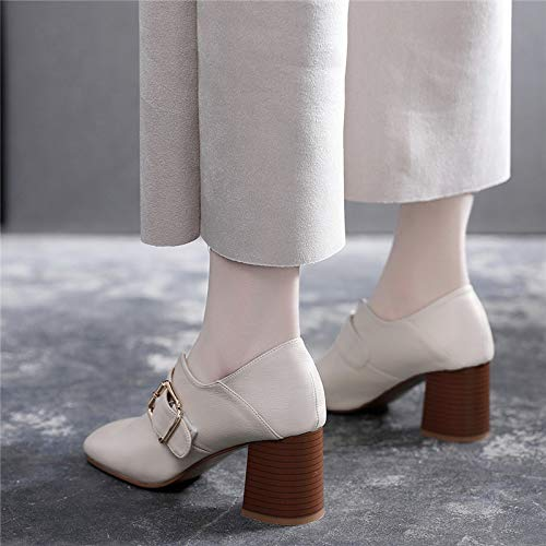 women's heel square seven head shoes leather Thirty LBTSQ shoes middle shoes Heel heel small fashionable joker and shoes 6cm Z4wqR1nxgS