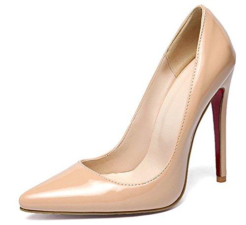 Spitze Schuhe Leder Absatz Elegante Stilettos Damen High Heels Ye Lack 12cm Pumps 9IebDYWEH2