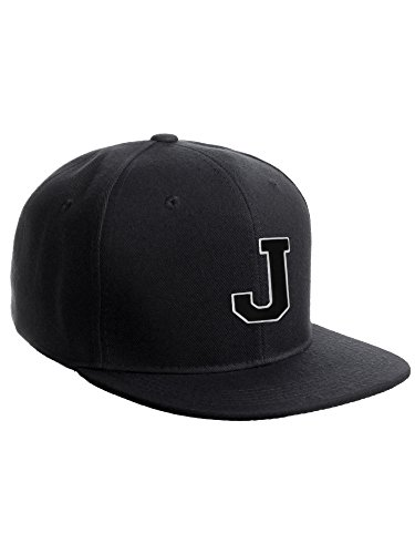 (Classic Snapback Hat w Custom A-Z Initial Raised Letters - Black Hat White Black Initial)