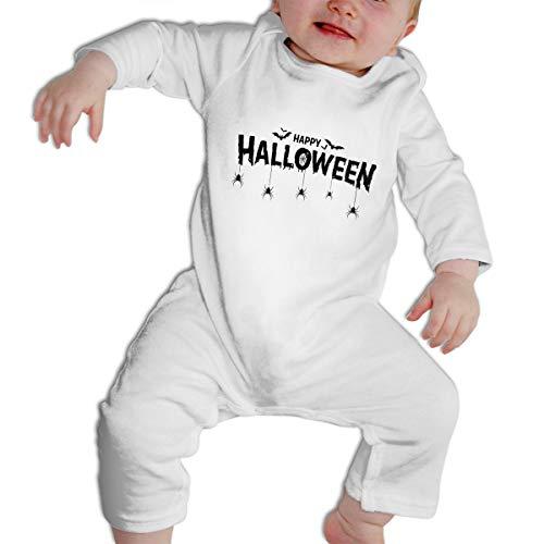 SWEETIE Happy Halloween Text Banner Baby Long Sleeve Infant Bodysuit Romper for 6-24months -
