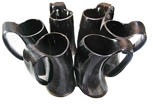 GAME OF THRONES DRINKING GLASS BEER WINE MUG BLACK ORIGINAL BUFFALO HORN 5'INCH SET OF 6 by La vivia