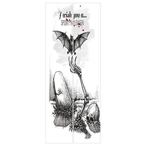 3d Door Wall Mural Wallpaper Stickers [ Halloween Decorations,Dead Skull Zombie Out Grave and Flying Bat Hand Drawn Spooky Picture,Black White ] Mural Door Wall Stickers Wallpaper Mural DIY Home (Diy Halloween Grave Decorations)