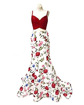 alilith.Z Women's Spaghetti Strap Two Piece Floral Prom Dresses Mermaid Formal Gowns and Evening Dresses