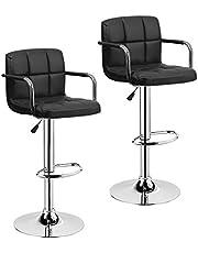 SK Depot™ High Back 360 Degrees Swivel Adjustable Quality Black PU Leather Bar Stool Pub Chair, with Backrest and Metal Footrest/Back Foot Rest - Set of 2 (Black)