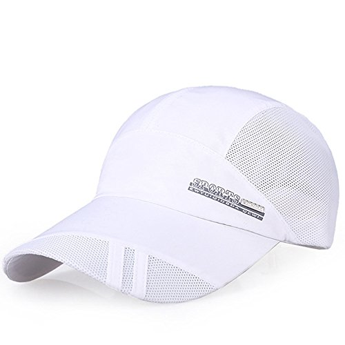 iYBUIA Fashion Adult Mesh Hat Quick-Dry Collapsible Sun Hat Outdoor Sunscreen Baseball Cap White