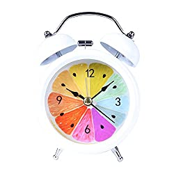 Huangou Classic Simple Metal Twin Bell Alarm Clock No Ticking Analog Quartz Alarm,Battery Operated with Nightlight and Snooze Function for Bedroom (7.5cm X 4.5cm X12cm, White)