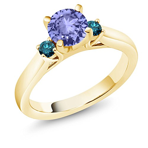 1.10 Ct Blue Tanzanite Blue Diamond 18K Yellow Gold Plated Silver 3-Stone Ring by Gem Stone King