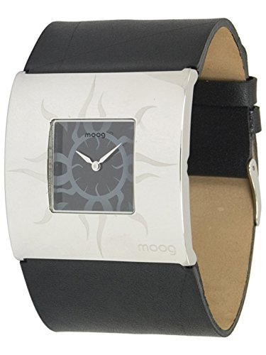 Moog Paris Sun Women's Watch with Sunray Black Dial, Black Strap in Genuine Leather - M44209F-003