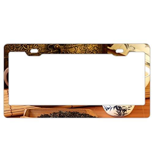 (EXMENI Teapot Leaves Service Chinese Hieroglyphs Polished Aluminum License Plate Frame Mirror Finish 2 Holes)
