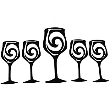 Wine Glasses Set of 5 Metal Wall Art Wall Accent Home/Kitchen Decor