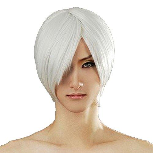 Xcoser DMC Cosplay Dante Short Sliver White Cosplay Wig for Halloween -