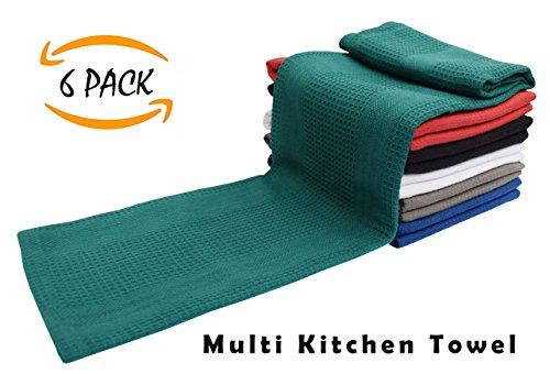 6 Pack Kitchen Towel - Multi colors - 16x28-100% Cotton - Wa