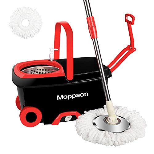 ket System Stainless Steel 360 Spin Mop with Extended EasyPress Handle and 2 Microfiber Mop Heads, Bucket with Wheels and EasyWring Dryer Basket for Home Kitchen Floor Cleaning ()