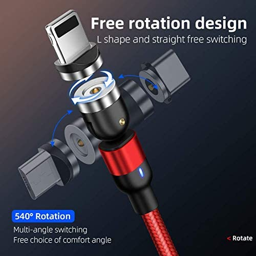 Red 3 PCS 6FT Mad Electronic 540/° Rotation Magnetic Charging Cable Phone 3 in 1 Nylon Braided Magnetic Cable Compatible with Micro USB Type C and iProduct