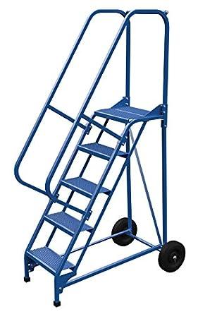 Vestil LAD-RAF-5-P - Escalera plegable (58 grados, perforada, 5 peldaños), color azul: Amazon.es: Amazon.es