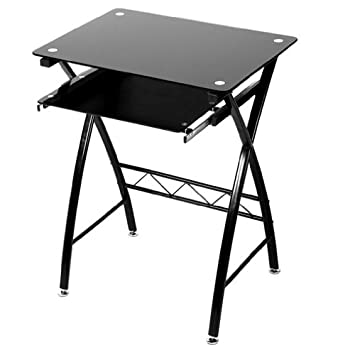 drawers computer glass table top desks furniture small black desk with metal corner