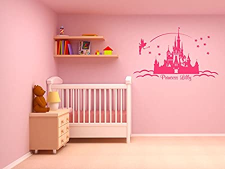 Vinyl Sticker Wall Childs Nursery Mural Decal Pink w h x 57cm 46 X-Large 100cm PERSONALISED Princess Castle Wall Art