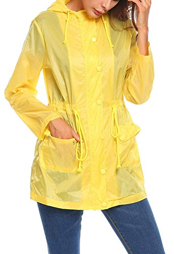 vent Serrage Gelb Cordon Super De Damenjacke À Veste Longues Fête Capuche Fonction Avec Coupe Style Raincoat Occasionnels 7Eaafwqx