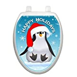 Happy Penguin Christmas Toilet Tattoo TT-X607-O Elongated Winter Holiday
